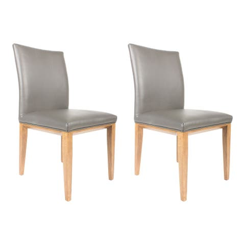 Aurelle Home Nadia Italian Leather Dining Chair (Set of 2)