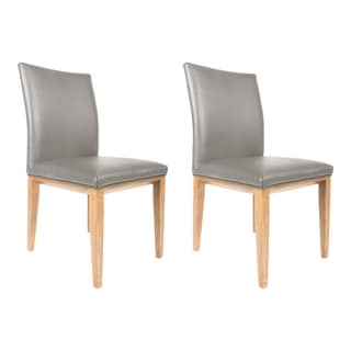 Aurelle Home Grey Leather Dining Chair (set of 2)