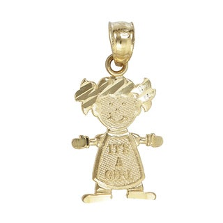 14k Yellow Gold 'It's a Girl' Pendant