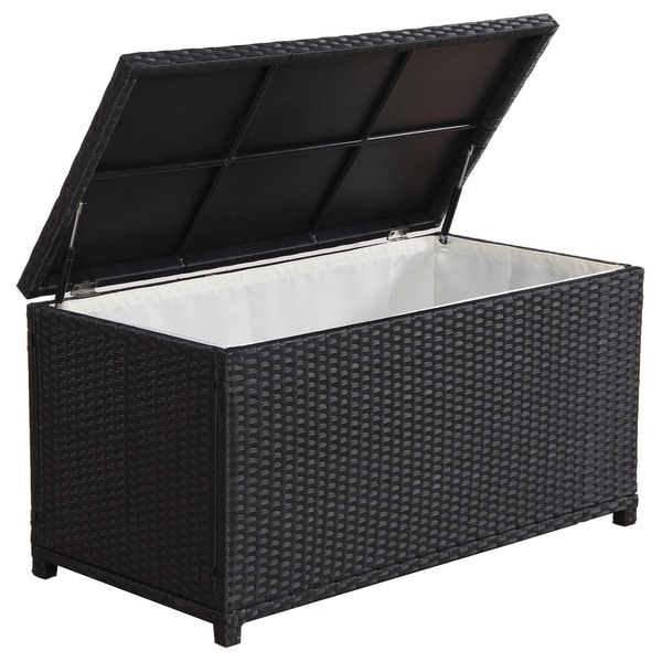 Broyerk Outdoor Black Wicker Cushion Storage Box Free