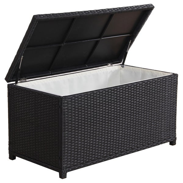Shop Broyerk Outdoor Black Wicker Cushion Storage Box