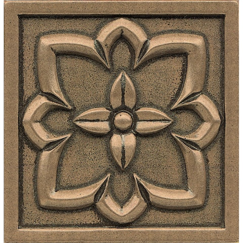 Bronze Metal and Resin 4-inch x 4-inch Romanesque Tile (1-piece)