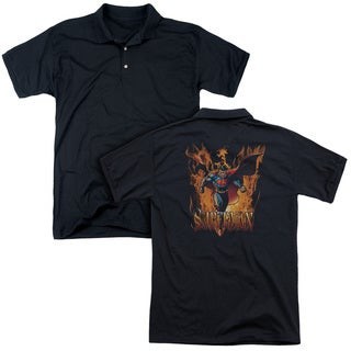 Superman/Through The Fire (Back Print) Mens Regular Fit Polo in Black