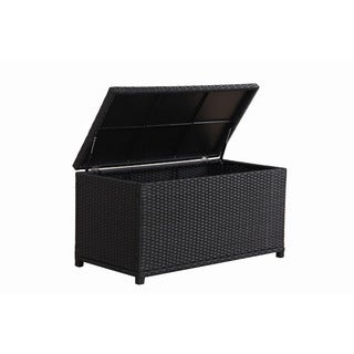 BroyerK Outdoor Black Wicker Storage Cushion Box