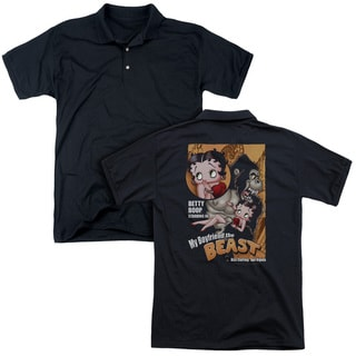 Betty Boop/Boyfriend The Beast (Back Print) Mens Regular Fit Polo in Black
