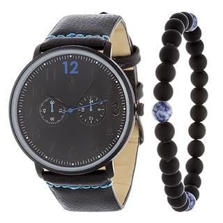 Brooklyn Exchange Men's Black Leather Strap Watch with a Set of Bracelet