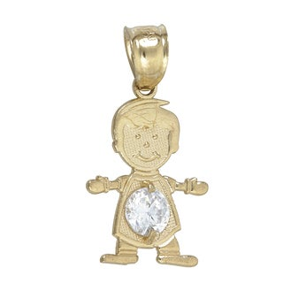 14k Yellow Gold Cubic Zirconia Boy Hug Dangling Pendant