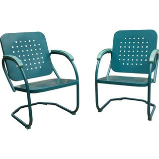 Hanover RETRO2PC Blue Steel Outdoor Retro Patio Chairs (Set of 2)