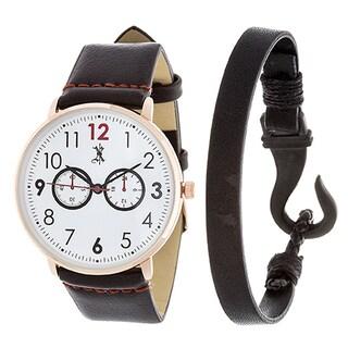 Brooklyn Exchange Men's Brown Leather Strap Watch W/ Stainless Steel Bracelets
