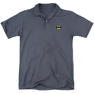 Batman/Embroidered Batman Mens Regular Fit Polo in Charcoal