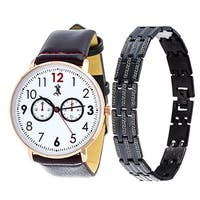 Brooklyn Exchange Men's Brown Leather Strap Watch with a Set of Bracelets