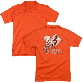 Betty Boop/Dangerous Curves (Back Print) Mens Regular Fit Polo in Orange