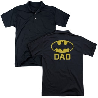 Batman/Bat Dad (Back Print) Mens Regular Fit Polo in Black