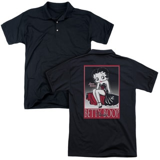 Betty Boop/Classic (Back Print) Mens Regular Fit Polo in Black