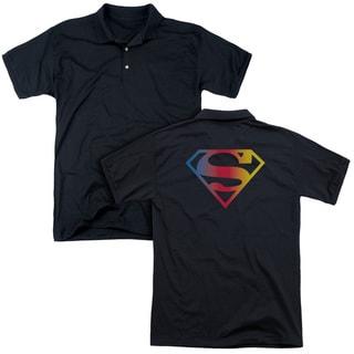 Superman/Gradient Superman Logo (Back Print) Mens Regular Fit Polo in Black