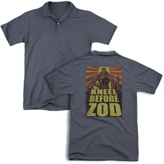 Superman/Zod Poster (Back Print) Mens Regular Fit Polo in Charcoal