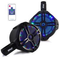 Pyle PLMRWB85LEB Black with Multi-Color LED Lights 260-watt 8-inch Dual Marine Wakeboard Water-resistant Tower Speakers