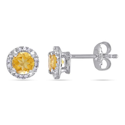 Miadora Sterling Silver Citrine and Diamond Accent Solitaire Halo Birthstone Stud Earrings - Yellow