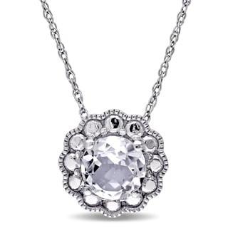 Miadora 10k White Gold White Topaz Solitaire Flower Halo Birthstone Drop Necklace