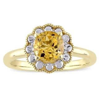 Miadora 10k Yellow Gold Citrine Solitaire Flower Halo Birthstone Ring
