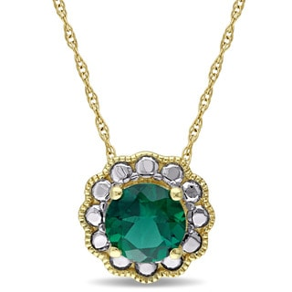 Miadora 10k Yellow Gold Created Emerald Solitaire Flower Halo Birthstone Drop Necklace