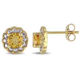 Miadora 10k Yellow Gold Citrine Solitaire Flower Halo Birthstone Stud Earrings