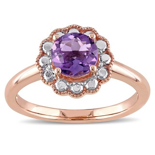 Miadora 10k Rose Gold Amethyst Solitaire Flower Halo Birthstone Ring