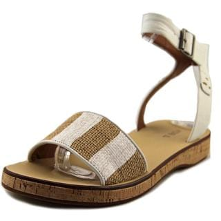 Kelsi Dagger Women's Carol White Faux-leather Raffia Sandals