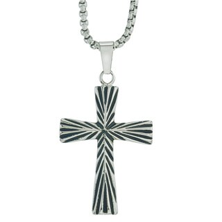 Men's Two-tone Black Oxidized Stainless Steel Cross Pendant By Ever One