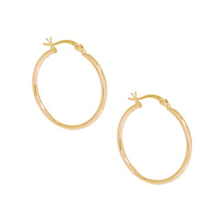 Pori 18k Gold Plated Sterling Silver 2-millimeter x 40-millimeter Hoop Earrings