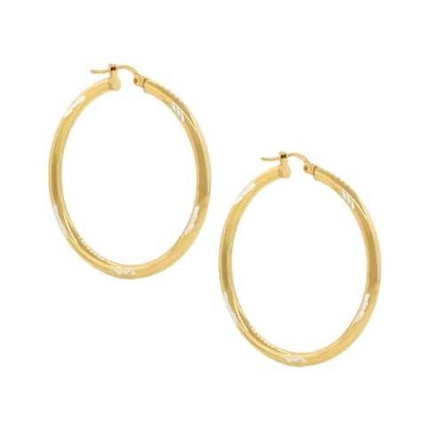 Pori Sterling Silver 18k Two-tone Goldplated Diamond Cut 2-millimeter x 20-millimeter Hoop Earrings