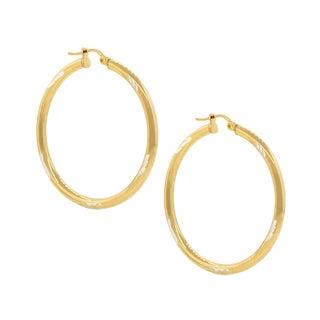 Pori Sterling Silver Two-Tone Goldplated Diamond Cut 2-Millimeter x 20-Millimeter Hoop Earrings
