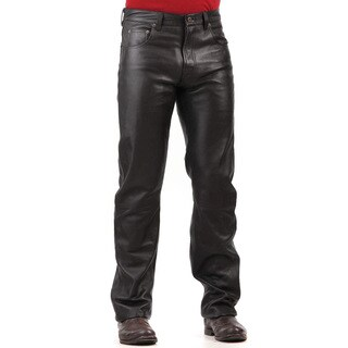 Men's Black Lambskin Leather Jean Pants