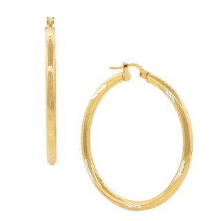 Pori 18k Gold Plated Sterling Silver Two-tone Diamond Cut 2-millimeter x 40-millimeter Hoop Earrings