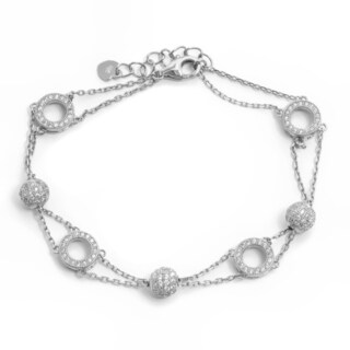 Pori 18k Gold/Rhodium-plated Sterling Silver Circles and Spheres 2-strand Bracelet With Extension