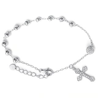 Pori 18k Gold Plated/Rhodium Plated Sterling Silver Beads with Cross Bracelet with Extension