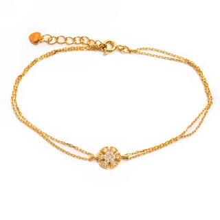Pori 18-carat Gold Plate Over Silver or Sterling Silver Cubic Zirconia Double-strand Flower Bracelet with Extension