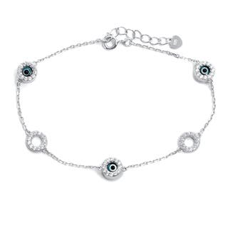 Pori Gold Plated/Rhodium Plated Sterling Silver Evil Eye Circles Bracelet With Extension|https://ak1.ostkcdn.com/images/products/11989022/P18869461.jpg?impolicy=medium