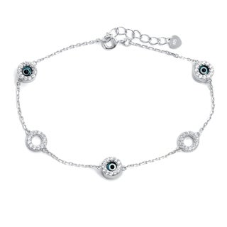 Pori 18k Gold Plated/Rhodium Plated Sterling Silver Evil Eye Circles Bracelet with Extension