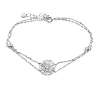 Pori 18-carat Gold Plate Over Silver or Sterling Silver Floral Double Strand Bracelet With Extension