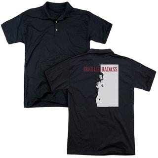 Bruce Lee/Badass (Back Print) Mens Regular Fit Polo in Black