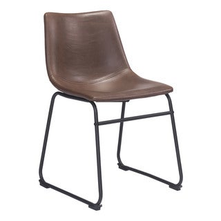 Zuo Smart Espresso Faux Leather Vintage Dining Chair
