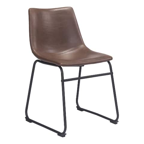 Zuo Smart Espresso Faux Leather Vintage Dining Chair (Set of 2) - 22.4L x 18.9W x 30.7H