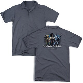 Injustice Gods Among Us/Good Girls (Back Print) Mens Regular Fit Polo in Charcoal