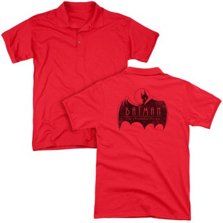 Batman The Animated Series/One Color Logo (Back Print) Mens Regular Fit Polo in Red