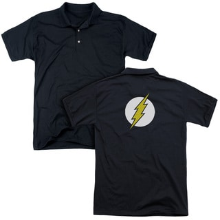 DC/Flash Logo (Back Print) Mens Regular Fit Polo in Black