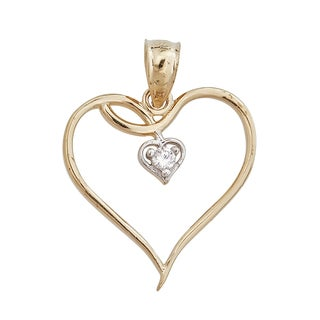 Two-tone 14k Yellow and White Gold Hollow Hearts Pendant