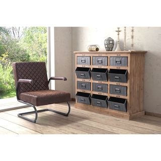 Zuo Haricot Industrial Grey Natural Pine Cabinet