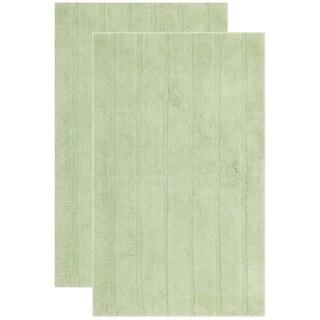 "Safavieh Plush Master Spa Stripe Light Green Bath Rug (Set Of 2) - 27"" x 45"""