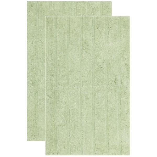 Safavieh Plush Master Spa Stripe Light Green Bath Rug (Set Of 2)